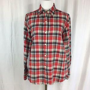 Crazy Horse linen/cotton plaid shirt size S